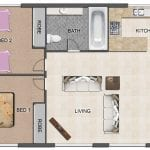 two bedroom apartment sample illustration